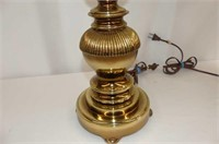 2 Brass Base Table Lamps w/Brocade-type Shade,