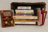 Wicker Basket w/17 Cookbooks