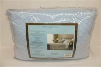 Brianna Quilted  Blue Queen Coverlet Set by
