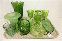 11 Pieces Green Glassware--Depression, Frosted, Ca