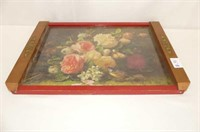 6 China Trivets on Floral Serving Tray
