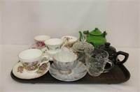 5 Cups & Saucers, Cream & Sugar, Enamel Kettle (ch