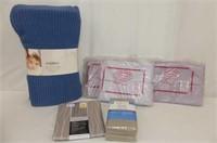 Wire Basket, 1 Twin Flat Sheet , Shower Curtain