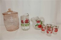 5 Pc. Tomato Patttern Juice Set, Floral Juice Pitc