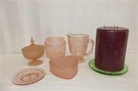 Pink Depression Pitcher & Biscuit Jar (no lid)