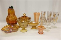 6 Pcs. Amber Glass, 3+3 Pine Cone Glasses
