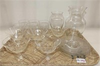 Cornflower--5 Sherberts w/4 Plates, 2 Clear Vase,