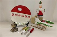Christmas--TAG Plate, Paintbrush Santa, 4 Jingle B