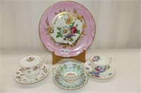 Pink & Floral Limoge Plate, 3 Cups & Saucers--RA,