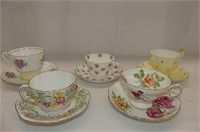 5 cups & Saucers--Queen Anne, Staffordshire,