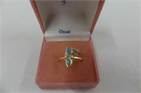 Sterling Silver Yellow Gold Plated Synthetic Opal
