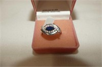 Sterling Silver Blue Sapphire & CZ Ring
