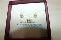 14kt. Yellow Gold 6mm Akoya Cultured Pearl & Diamo