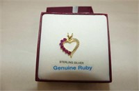 Sterling Silver Yellow Gold Plated Ruby Heart