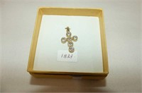 18kt. Yellow Gold CZ Cross Pendant