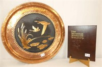 "Copper Tray w/Geese 24""D, Norman Rockwell Treasury"