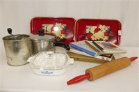 2 Red Trays, Tecoware Saucepan, Sifter, Rolling Pi
