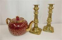 Brass Candlesticks, Burslem Teapot, 5 Pcs. of