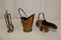 Copper--Powder Flask, Hat, Scuttle, Vintage Car