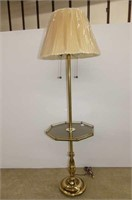 """Antique Brass Floor Lamp w/Glass Table 58""""H"""