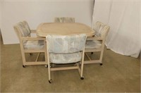 "Blonde Dinette Set w/41"" Square Table, 4 Chairs on"