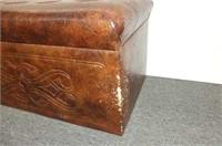Brown Vinyl Flip Top Storage Trunk/Bench