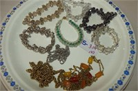 Jewellery--6 Bracelets, 3 Chain Necklaces