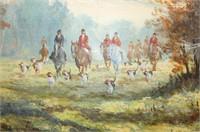 "Oil Painting ""English Hunt"" Scene"
