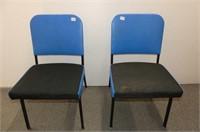 2 Black Frame & Blue Vinyl Chairs