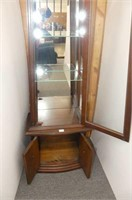 Tapered Curio Cabinet w/Glass Shelves, Mirrored Ba