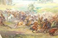 """Oil Painting """"Battle on Horseback"""" Scene"""