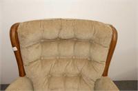 Beige Chamois Upholstered Swivel Rocker w/Wood Tri