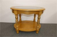 Oval Oak Side Table w/Glass Insert
