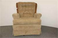 Beige Chamois Upholstered Swivel Rocker w/Wood Tri