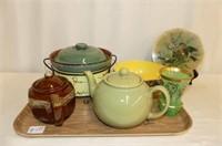 Bullfinch Trivet, 2 Teapots, Staffordshire Bowl,