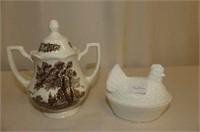 "Hen on Nest 4"", Crockery Jar, Condiment Pieces"
