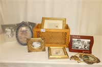 Cane Inset Crate w/Assorted Picture Frames