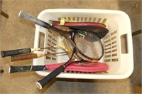 3 Tennis & 2 Badminton Racquets in Laundry Basket