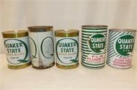 5 Quaker State Quart Tins--Motor Oil, 10W30 (2), T