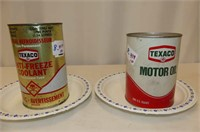Texaco Antifreeze Coolant & Motor Oil Quart Tins