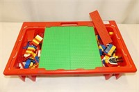 Assorted Lego in Lego Tote w/Building Plates