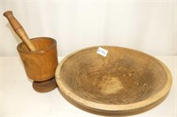 Wooden Mortar & Pestle, Wooden Bowl 13x11.5""