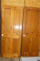2 Wooden 4 Panel Doors w/Porcelain Knobs