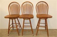 3 Swivel Seat Wooden Bar Stools