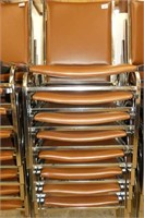 8 Chrome Stacking Vinyl Chairs