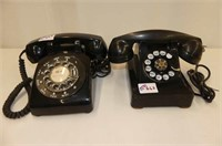 2 Rotary Dial Desk Telephones