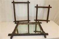 Adirondack--Framed Mirror & 2 Criss Cross Frames