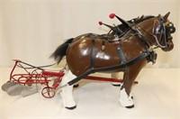 Plaster Draft Horses w/2 Furrow Riding Plow