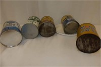 4 Empty Tins-Pennzoil, Sears, Mobil, Quakerstate
