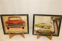 2 Framed Car Pictures--1964 Valiant, 60's Hard Top